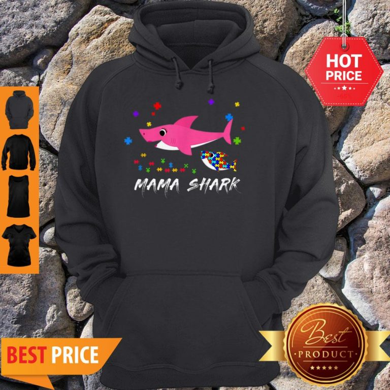 Awesome Mama Shark Autism Awareness Tee For Mama Gift Hoodie