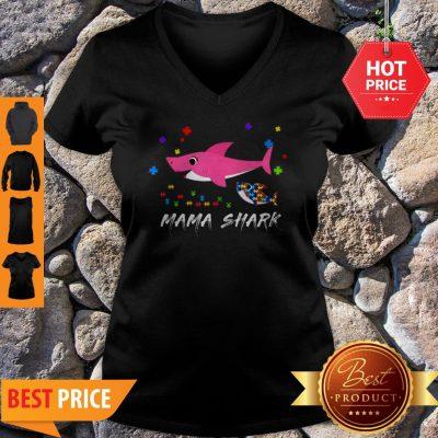Awesome Mama Shark Autism Awareness Tee For Mama Gift V-neck
