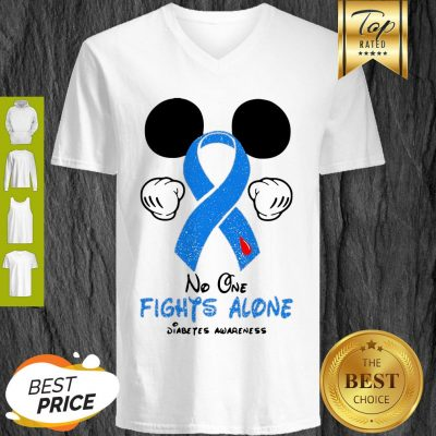 Disney Mickey Mouse No One Fights Alone Diabetes Awareness V-neck