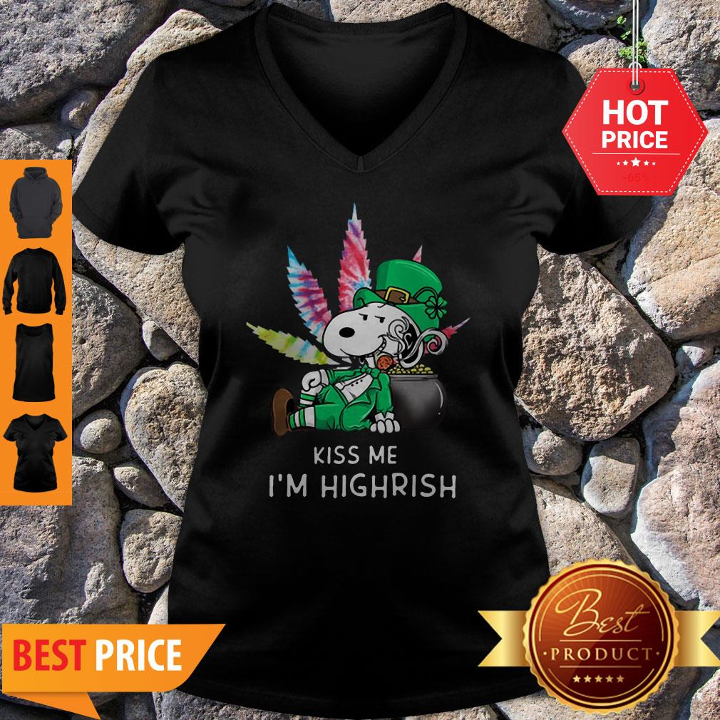 Kiss Me I'm Highrish Weed Snoopy St. Patrick Day V-neck