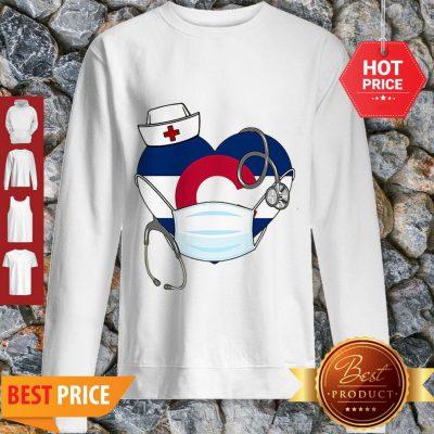 Love Colorado Stethoscope Nurse Mask Sweatshirt