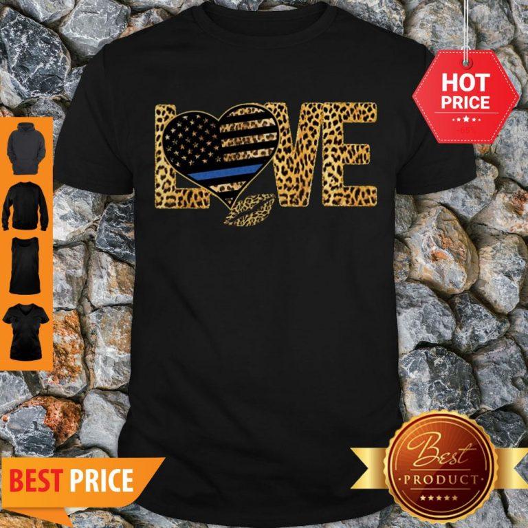 Love Leopard Thin Blue Line Lips Shirt