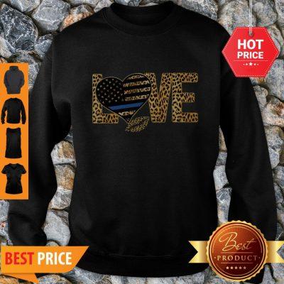 Love Leopard Thin Blue Line Lips Sweatshirt