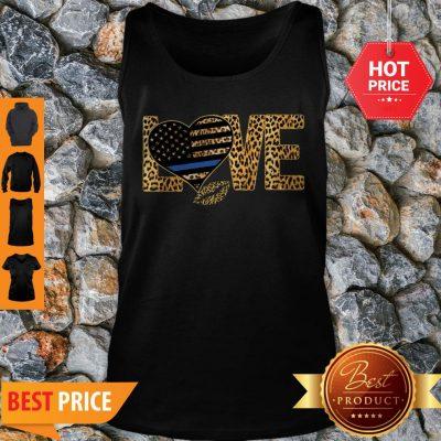 Love Leopard Thin Blue Line Lips Tank Top