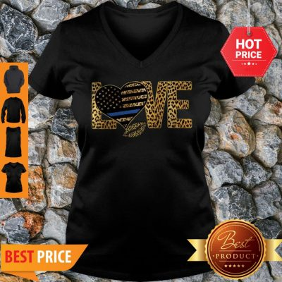 Love Leopard Thin Blue Line Lips V-neck