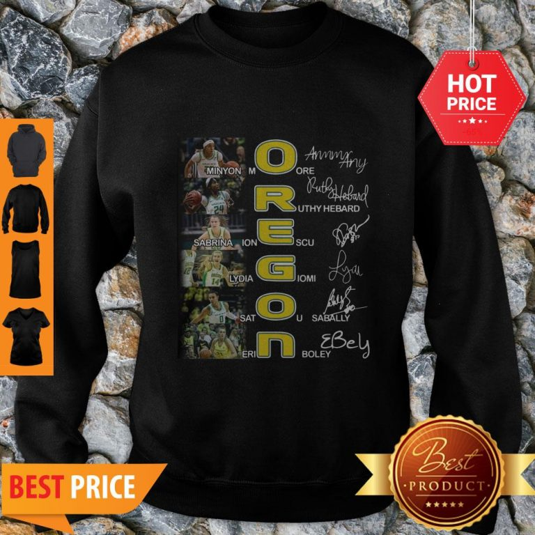 Oregon Ducks Minyon Moore Ruthy Hebard Signatures Sweatshirt