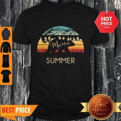 Original Summer Name Gift Retro Sun Personalized Mama Bear Shirt