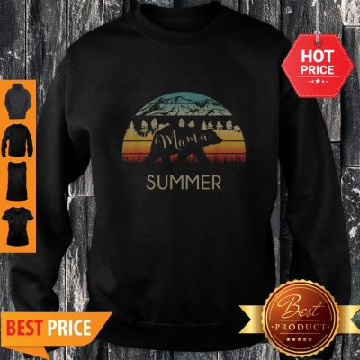 Original Summer Name Gift Retro Sun Personalized Mama Bear Sweatshirt