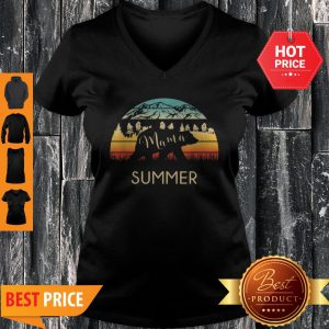 Original Summer Name Gift Retro Sun Personalized Mama Bear V-neck