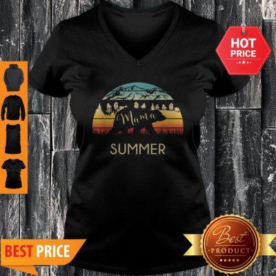 Original Summer Name Gift Retro Sun Personalized Mama Bear V-neck