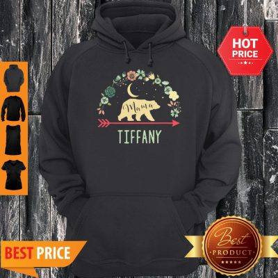 Pretty Tiffany Name Gift Floral Personalized Mama Bear Hoodie