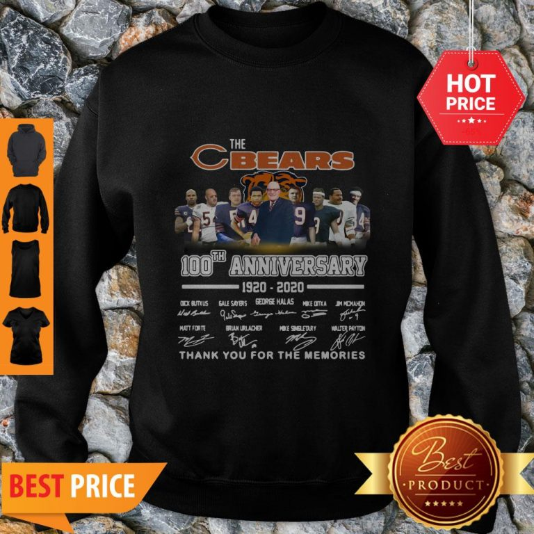The Chicago Bears 100th Anniversary Signed Thank You For The Memories Sweatshirt