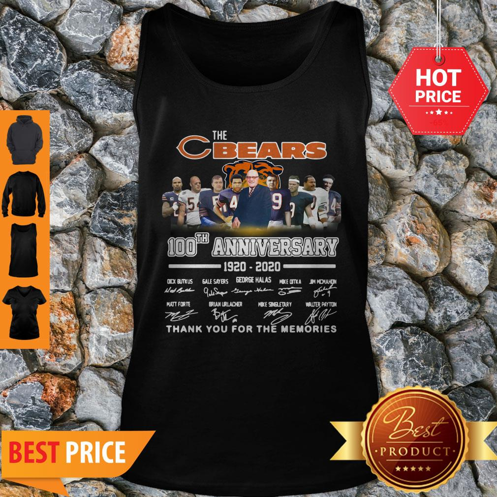 The Chicago Bears 100th Anniversary Signed Thank You For The Memories Tank Top