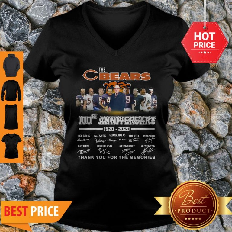 The Chicago Bears 100th Anniversary Signed Thank You For The Memories V-neck