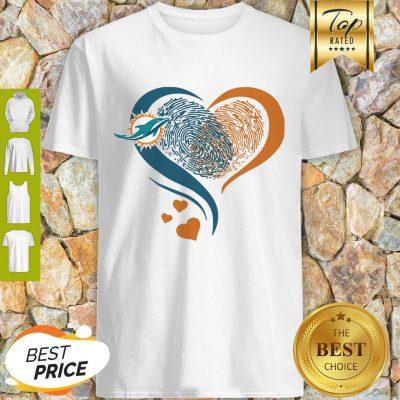 Miami Dolphins Heart Fingerprint Shirt