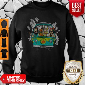 Official Peace Bus Scooby Doo And Friends Smoking Weed Sweatshirt