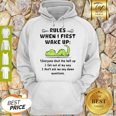 Rules When I First Wake Up Everyone Shut The Hell Up Dinosaurs Hoodie