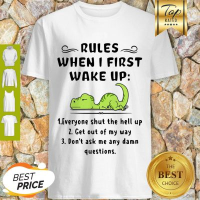 Rules When I First Wake Up Everyone Shut The Hell Up Dinosaurs Shirt