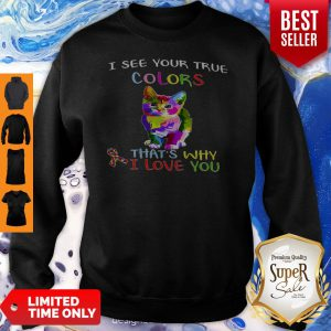 Cat Autism Awareness I See Your True Colors That's Why I Love You Sweatshirt