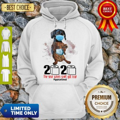 Top Dachshund 2020 The Year When Shit Got Real Quarantined Hoodie