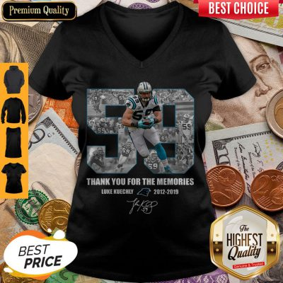 Luke Kuechly 59 Thank You For The Memories Carolina Panthers V-neck