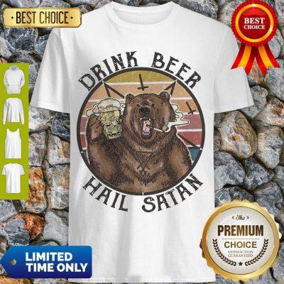 Nice The Bear Drink Beer Hail Satan Shirt