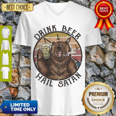 Nice The Bear Drink Beer Hail Satan V-neck