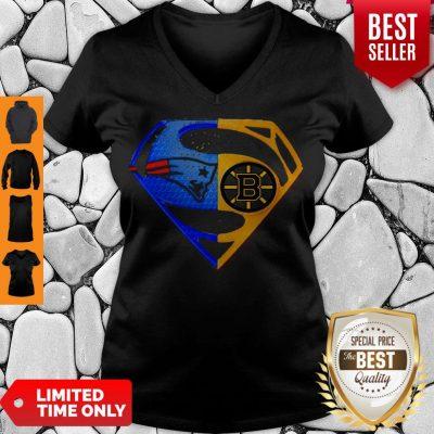 Premium Superhero New England Patriots And Boston Bruins Diamond V-neck