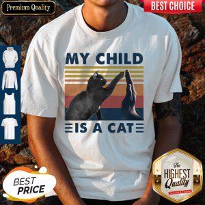 Pretty Retro Navy My Child Is A Cat Shirt