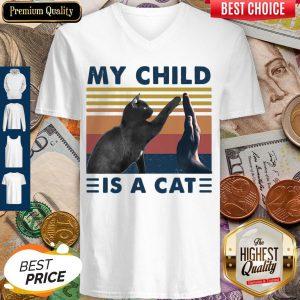 Pretty Retro Navy My Child Is A Cat V-neck