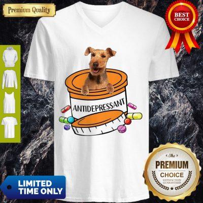 Funny Welsh Terrier Antidepressant V-neck