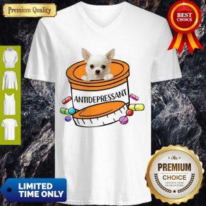 Pretty White Chihuahua Antidepressant V-neck