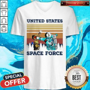 Astronaut Punch Alien In The Face United States Space Force Vintage V-neck