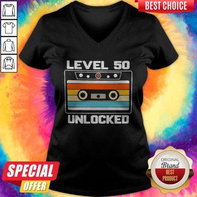 Funny Level 50th Unlocked Vintage V-neck