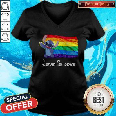 Funny Stitch LGBT Pride Love Is Love V-neck
