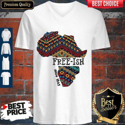 Premium Black Map Free-ish Since 1865 V-neck