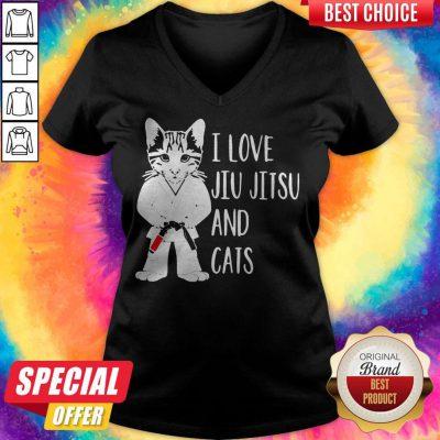 Pretty I Love Jiu Jitsu And Cats V-neck