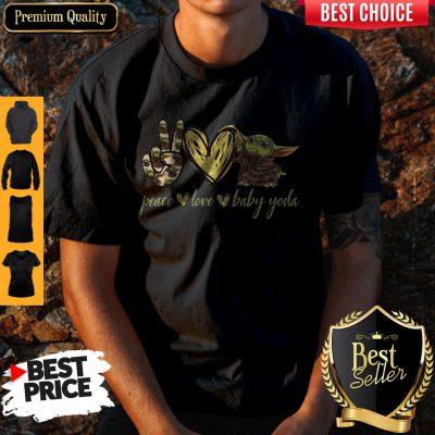 Pretty Peace Love And Baby Yoda Shirt