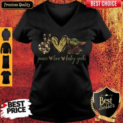 Pretty Peace Love And Baby Yoda V-neck