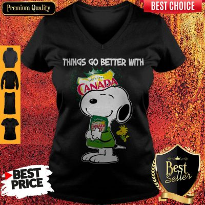 Snoopy Hug Canada Dry Things Go Better With Canada Dry V-neck