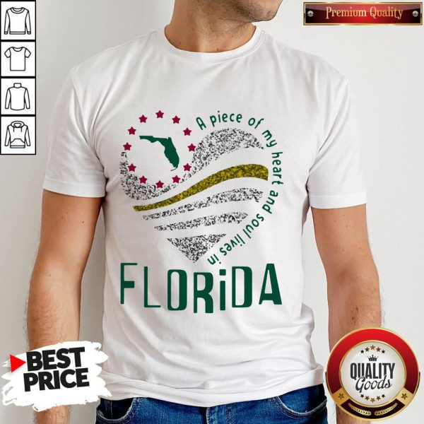 Awesome A Piece Of My Heart And Soul Lives In Florida Map Shirt