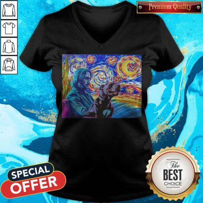 Awesome John Wick And Dog Starry Night V-neck