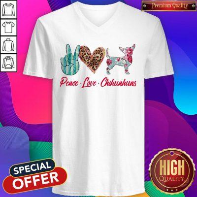 Awesome Peace Love Chihuahua Flowers V-neck