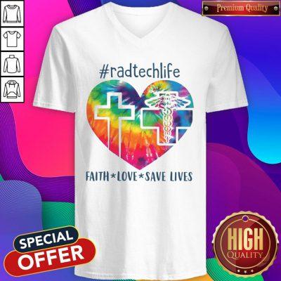 Colorful Radtechlife Faith Love Save Lives V-neck