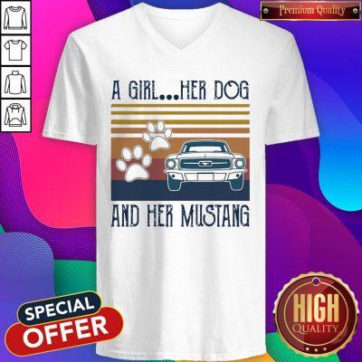 Good A Girl Her Dog And Her Mustang Vintage V-neck