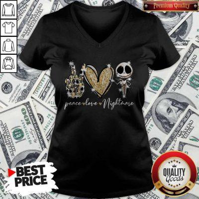 Nice Peace Love Nightmare Skellington Diamond V-neck