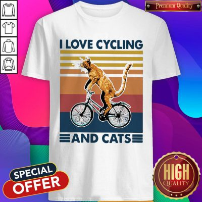 Perfect I Love Cycling And Cat Vintage Retro Shirt