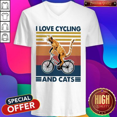 Perfect I Love Cycling And Cat Vintage Retro V-neck