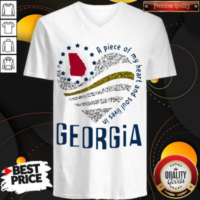 Pretty A Piece Of My Heart And Soul Lives In Georgia Map V-neck