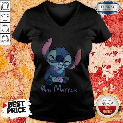 Pretty Stitch Hug Breat Cancer You Matter V-neck